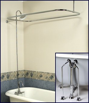 add shower to clawfoot tub. Complete Chrome Add on Shower Combo Set for Clawfoot Tub  Faucet Riser Rod Drain Lines