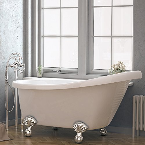 Luxury 60 Inch Clawfoot Tub With Vintage Slipper Tub Design In White,  Includes Ball And Claw Feet And Drain, From The Brookdale Collection