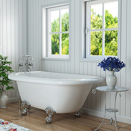 54 inch clawfoot tub. Luxury 54 inch Clawfoot Tub with Vintage Design in White  includes Ball and Claw Feet Drain from The Highview Collection