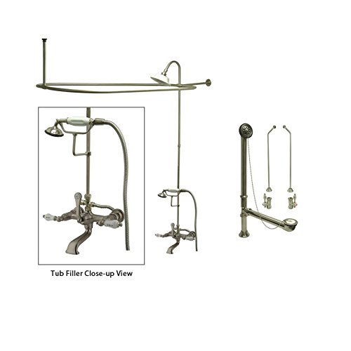 Satin Nickel Clawfoot Tub Faucet Shower Kit With Enclosure Curtain Rod 555T8C
