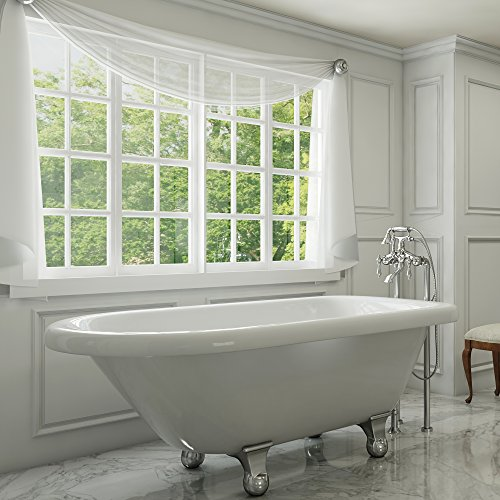 luxury 54 inch clawfoot tub with vintage tub design in white includes polished chrome cannonball feet and drain from the highview collection - Vintage Tub