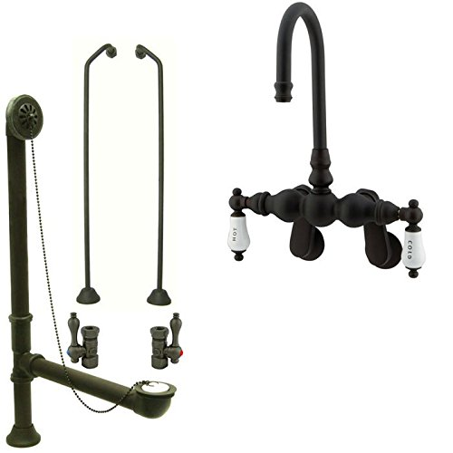 Oil Rubbed Bronze Wall Mount Clawfoot Tub Faucet Package Supply