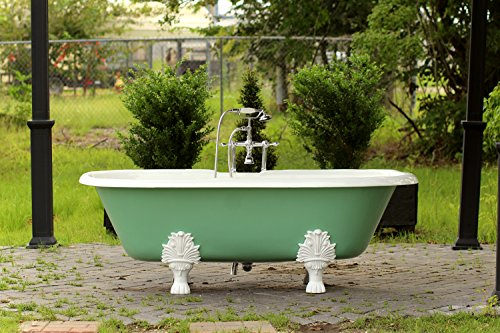 Double Ended 72u201d Antique Inspired Arsenic Green Cast Iron Porcelain  Clawfoot Bathtub Package Original Finish